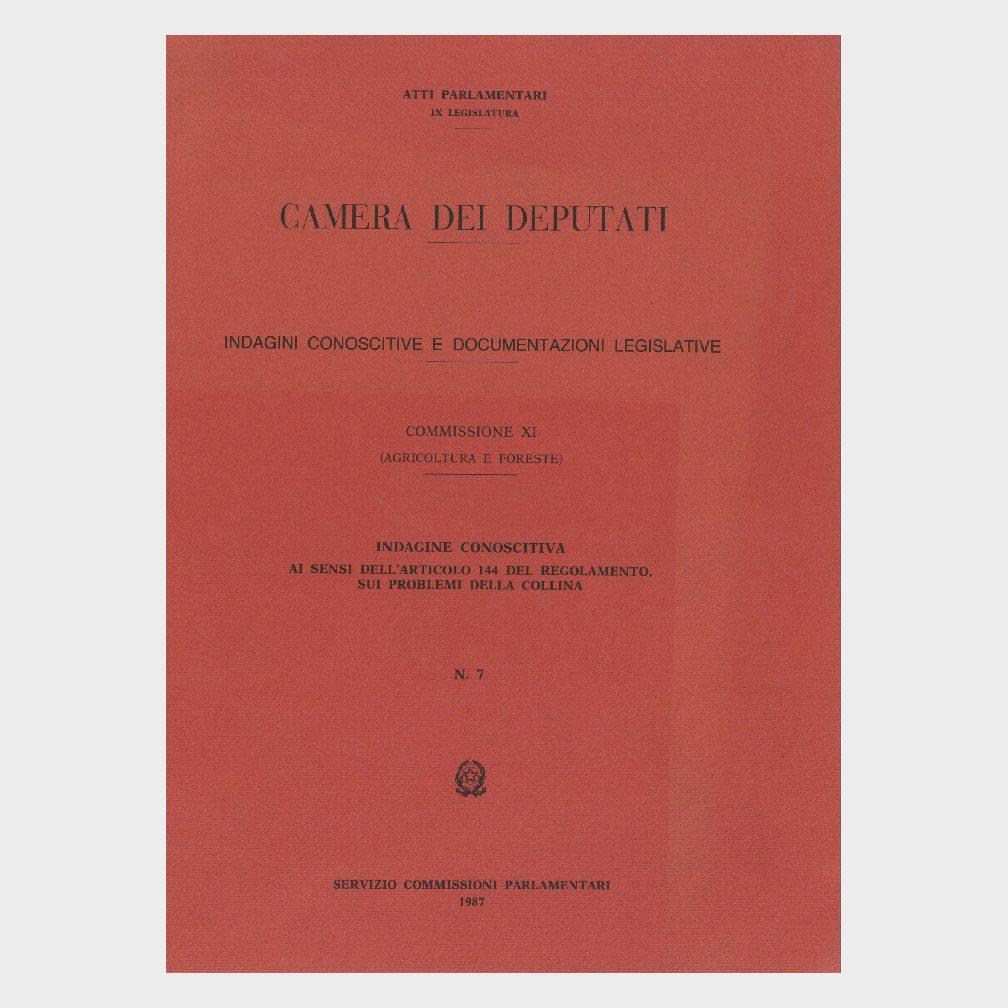 Book Cover: INDAGINE CONOSCITIVA AI SENSI DELL'ART. 144 REG. PROBLEMI DELLA COLLINA