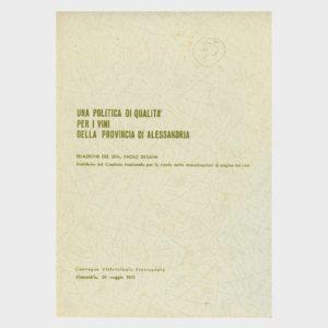 Book Cover: UNA POLITICA DI QUALITÀ PER I VINI DELLA PROVINCIA DI ALESSANDRIA