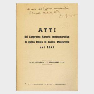 Book Cover: ATTI DEL CONGRESSO AGRARIO COMMEMORATIVO DI QUELLO TENUTO A CASALE NEL 1847
