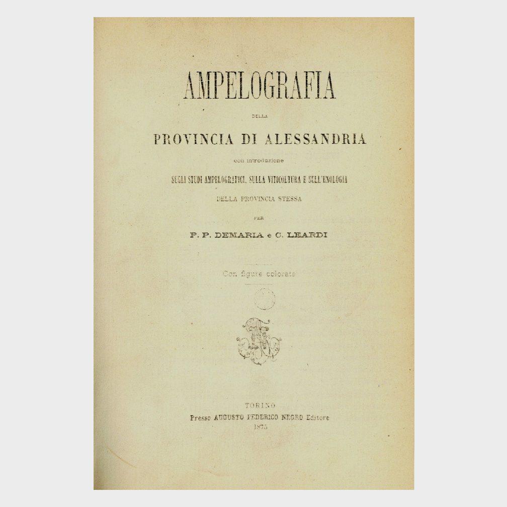Book Cover: AMPELOGRAFIA DELLA PROVINCIA DI ALESSANDRIA