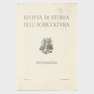 Book Cover: RIVISTA DI STORIA DELL'AGRICOLTURA