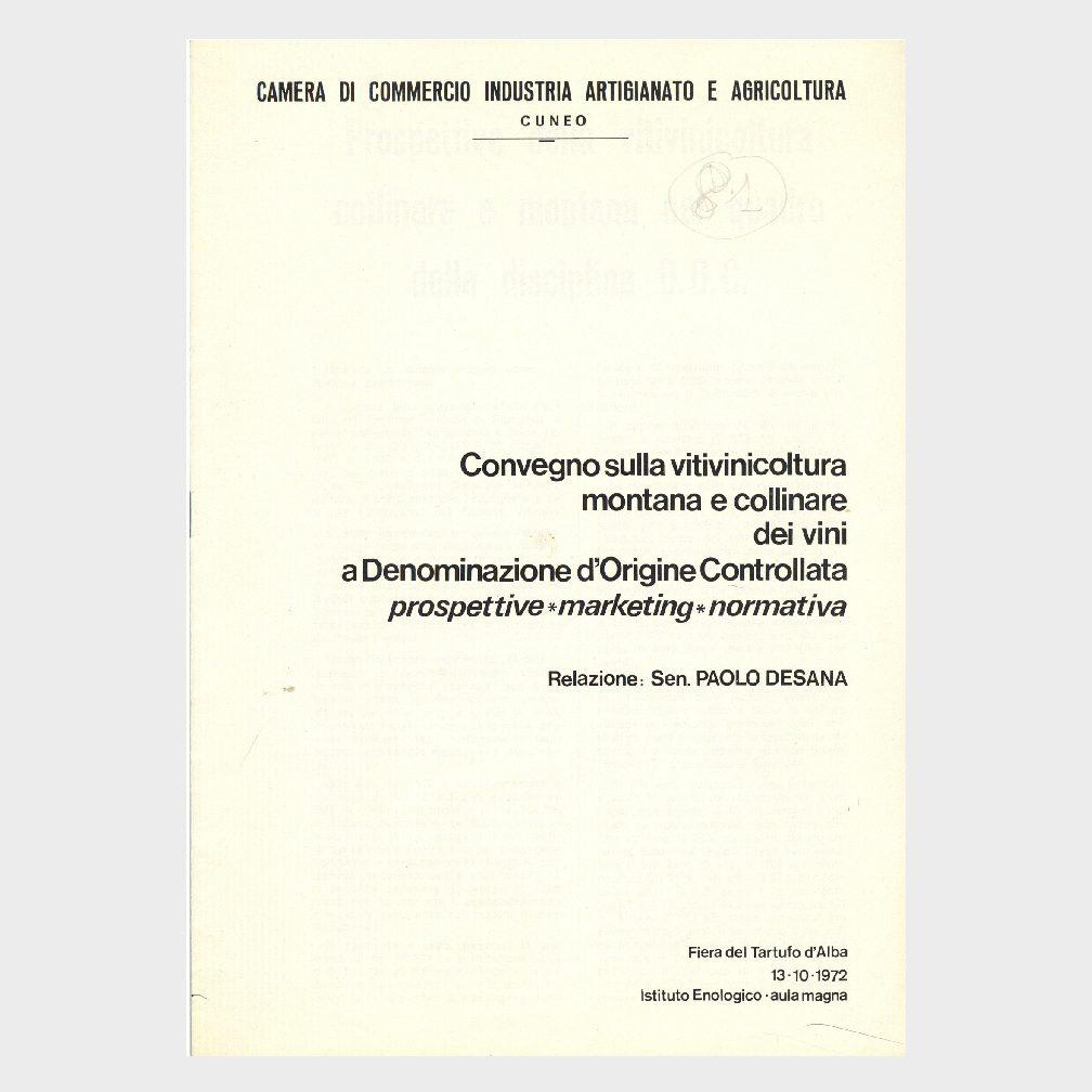 Book Cover: CONVEGNO SULLA VITIVINICOLTURA MONTANA E COLLINARE DEI VINI DOC