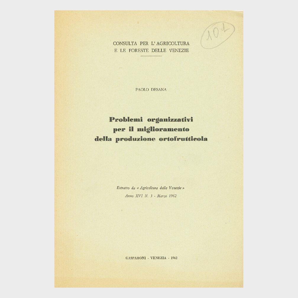 Book Cover: PROBLEMI ORGANIZZATIVI PER IL MIGLIORAMENTO DELLA PRODUZIONE ORTOFRUTTICOLA