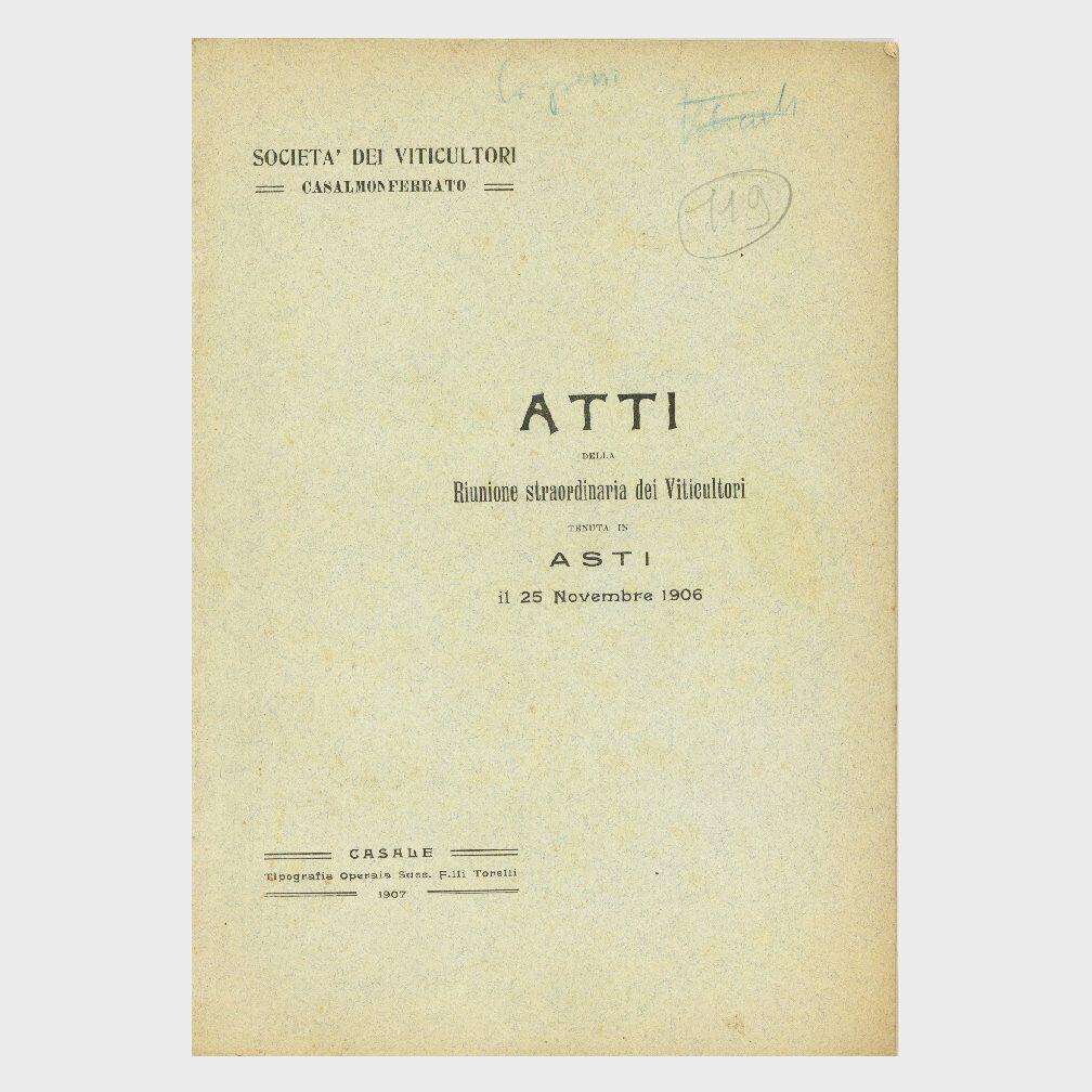 Book Cover: ATTI DELLA RIUNIONE STRAORDINARIA DEI VITICOLTORI DI ASTI ( SOCIETÀ DEI VITICOLTORI CASALE MONFERRATO )