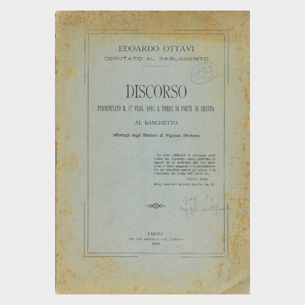 Book Cover: DISCORSO DI EDOARDO OTTAVI IL 17/2/1895 A TORRE DI PONTE BRENTA