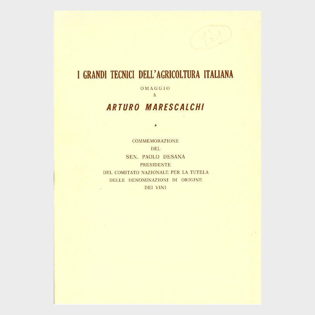 Book Cover: ARTURO MARESCALCHI – I GRANDI TECNICI DELL'AGRICOLTURA ITALIANA