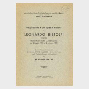 Book Cover: INAUGURAZIONE DI UNA LAPIDE IN MEMORIA DI LEONARDO BISTOLFI