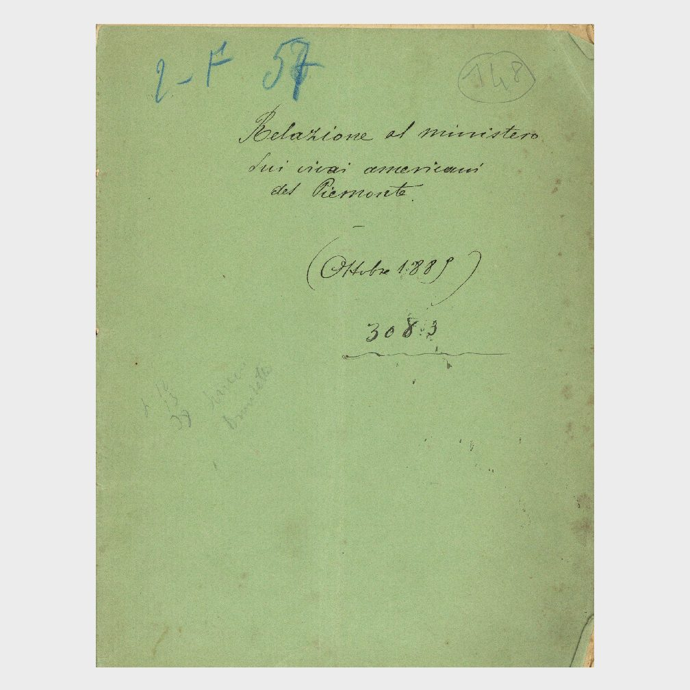 Book Cover: RELAZIONE AL MINISTERO DE VIVAI AMERICANI DEL PIEMONTE