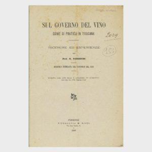 Book Cover: SUL GOVERNO TOSCANO DEL VINO - COME DI PRATICA IN TOSCANA