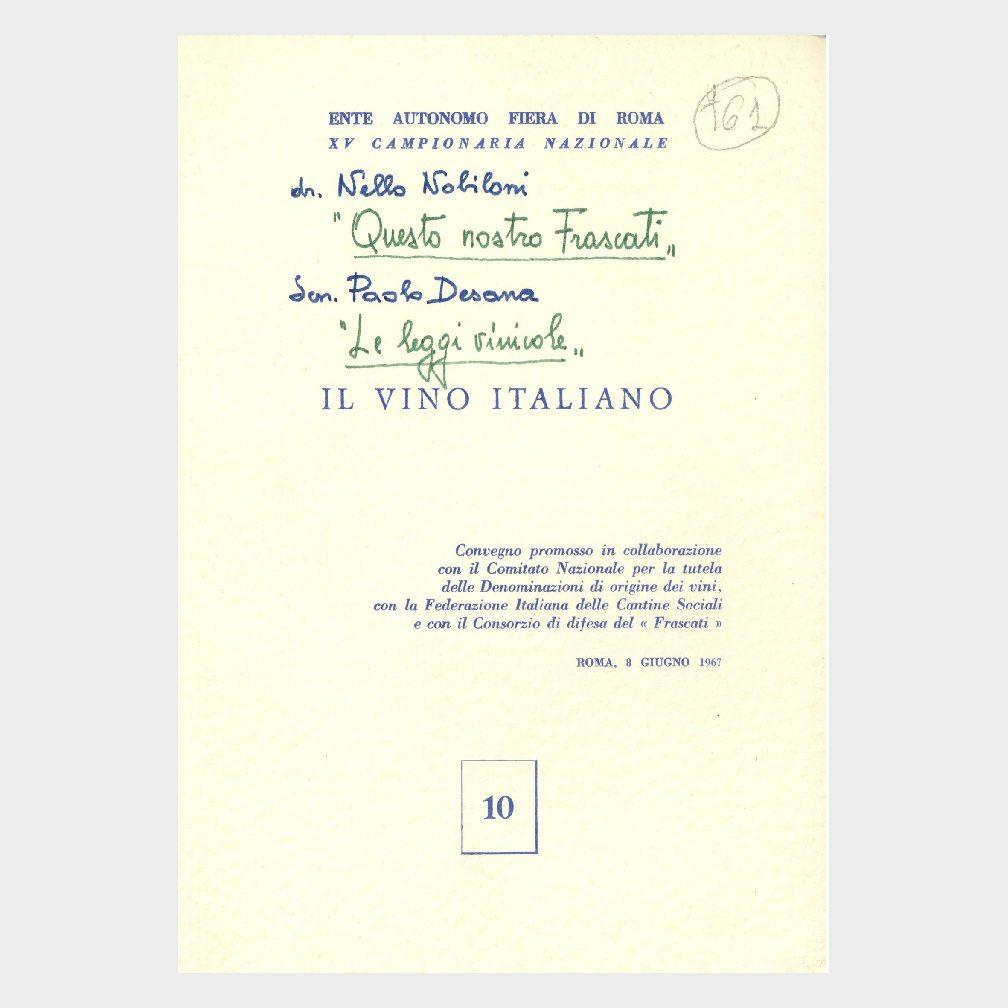 Book Cover: IL VINO ITALIANO – QUESTO NOSTRO FRASCATI – LEGGI VINICOLE
