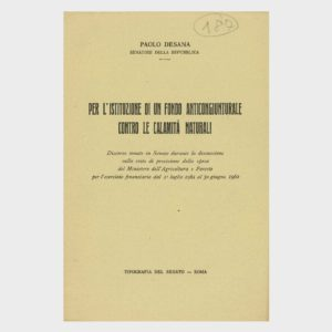 Book Cover: ISTITUZIONE DI UN FONDO ANTICONGIUNTURALE CONTRO LE CALAMITÀ NATURALI