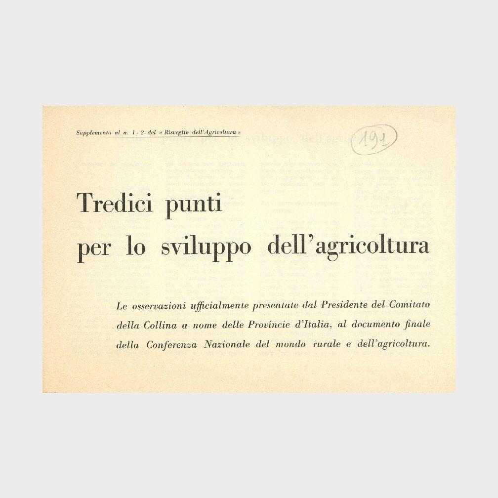 Book Cover: TREDICI PUNTI PER LO SVILUPPO DELL'AGRICOLTURA