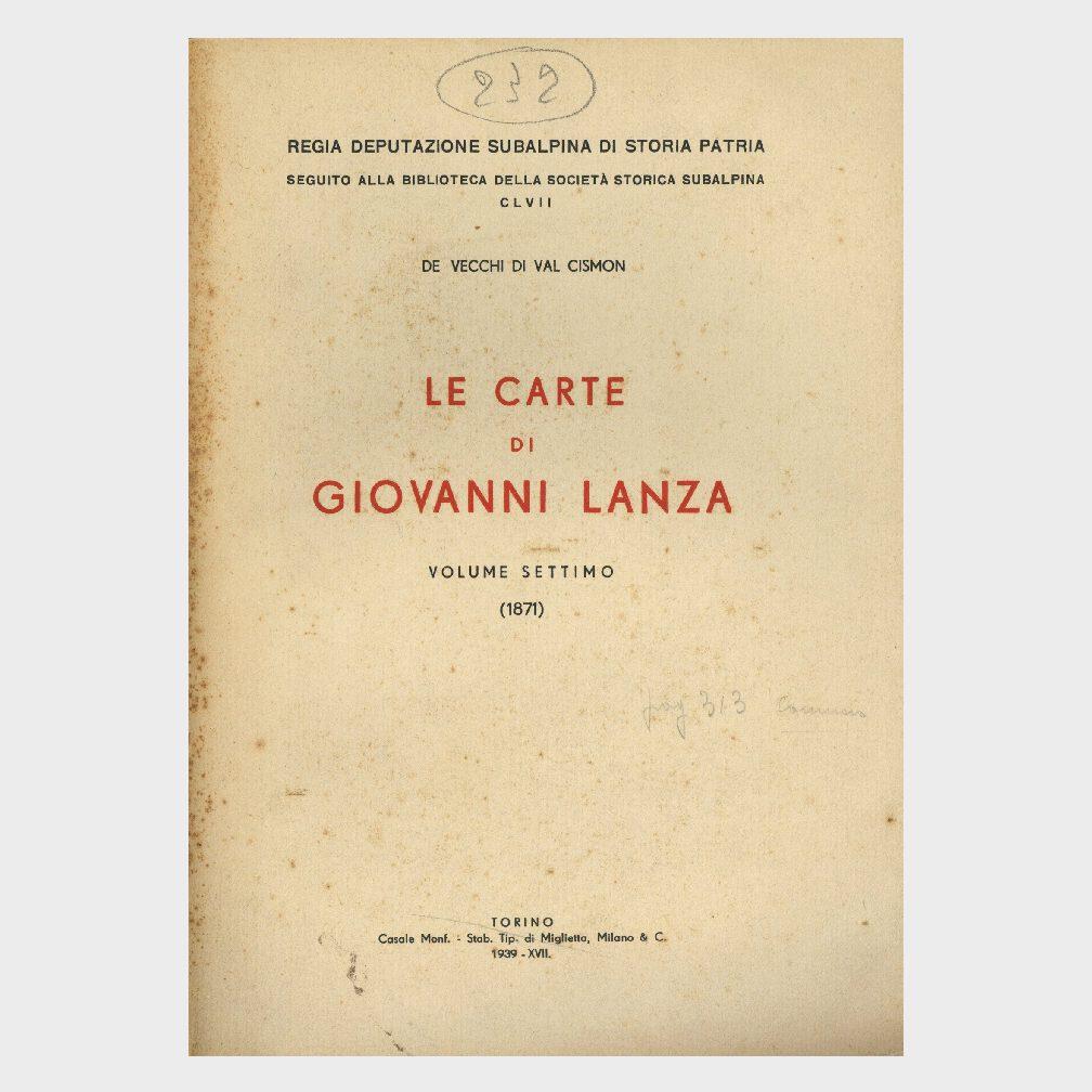 Book Cover: LE CARTE DI GIOVANNI LANZA ( VOL. 7° 1871 )