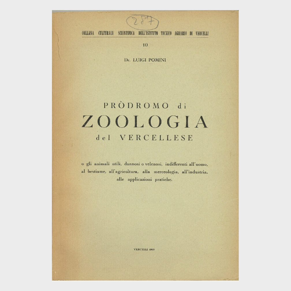 Book Cover: PRODROMO DI ZOOLOGIA DL VERCELLESE