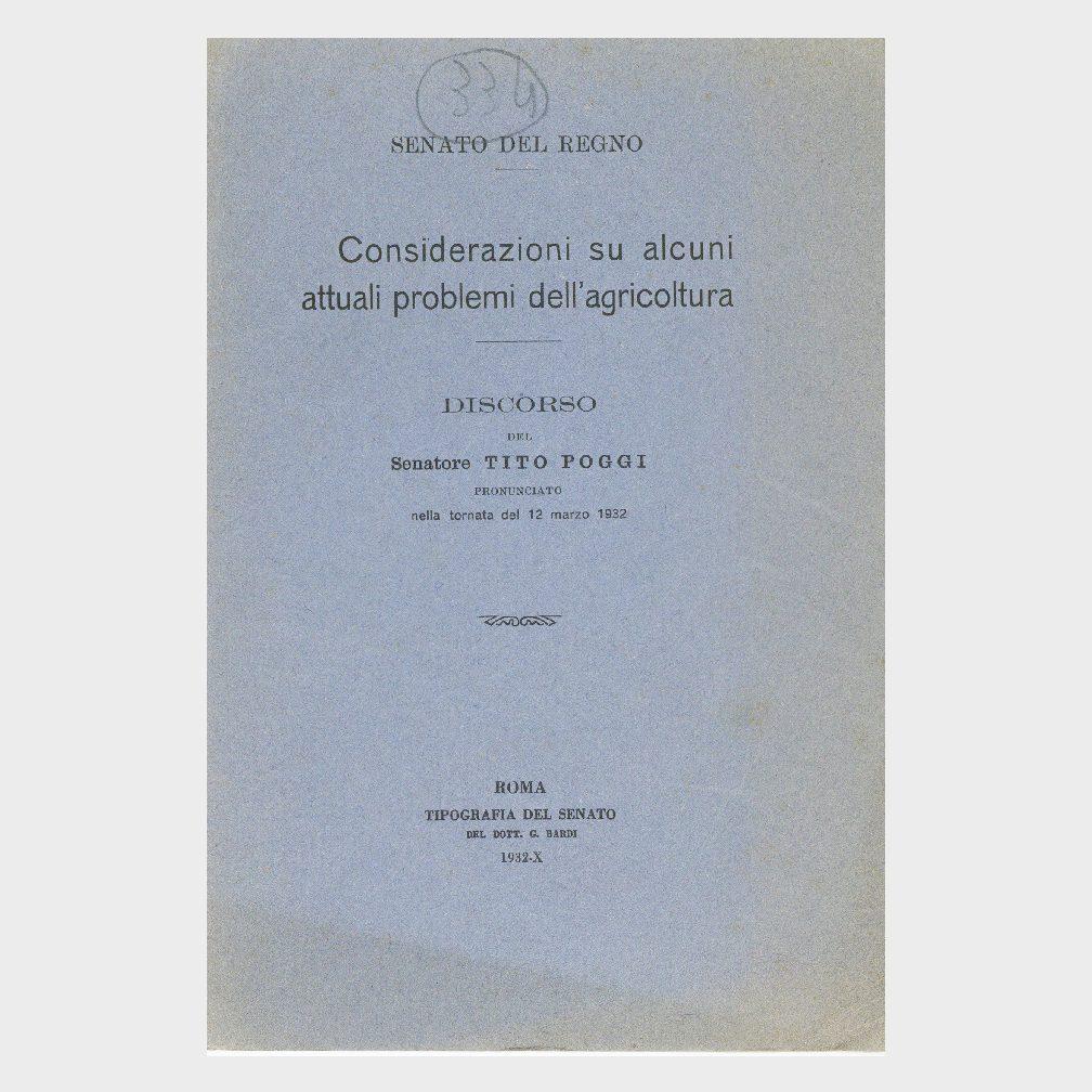 Book Cover: CONSIDERAZIONI SU ALCUNE ATTUALI PROBLEMI DELL'AGRICOLTURA