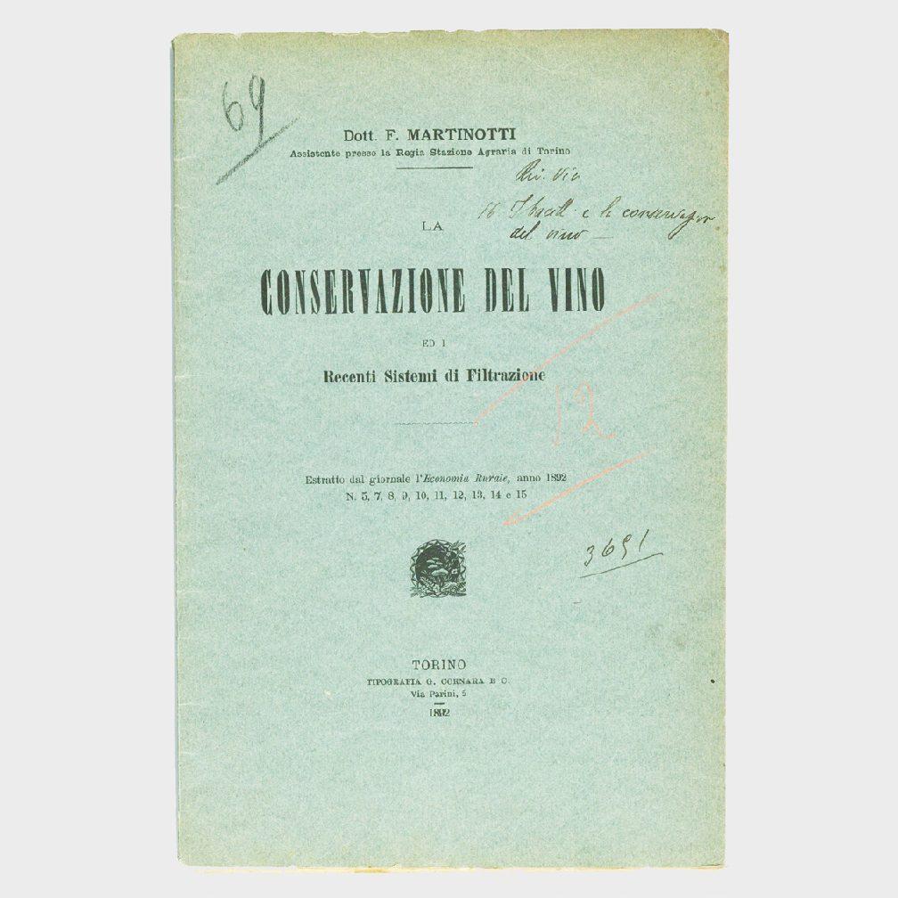 Book Cover: CONSERVAZIONE DEL VINO E RECENTI SISTEMI DI FILTRAZIONE