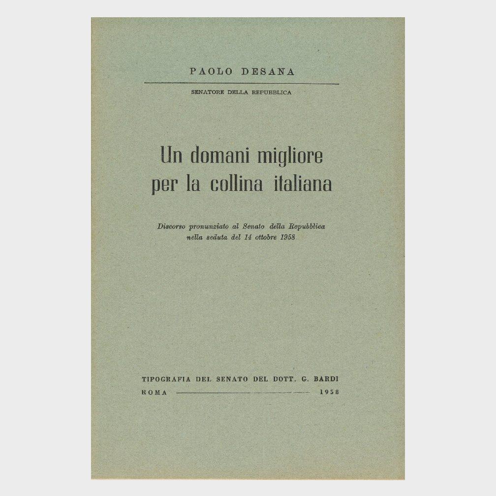 Book Cover: UN DOMANI MIGLIORE PER LA COLLINA ITALIANA