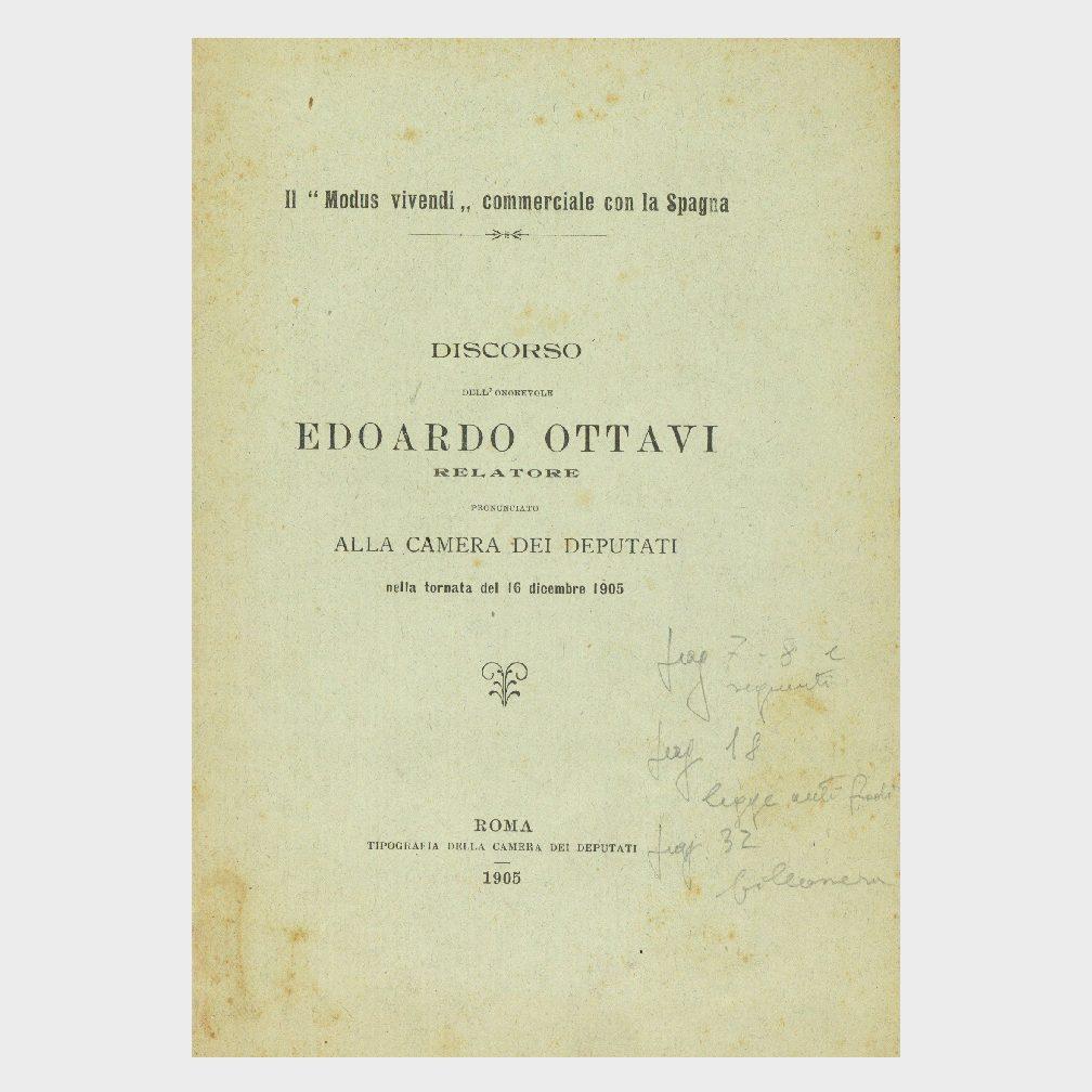 """Book Cover: DISCORSO DI EDOARDO OTTAVI CAMERA DEI DEPUTATI """"IL MODUS VIVENDI COMMERCIALE CON LA SPAGNA"""