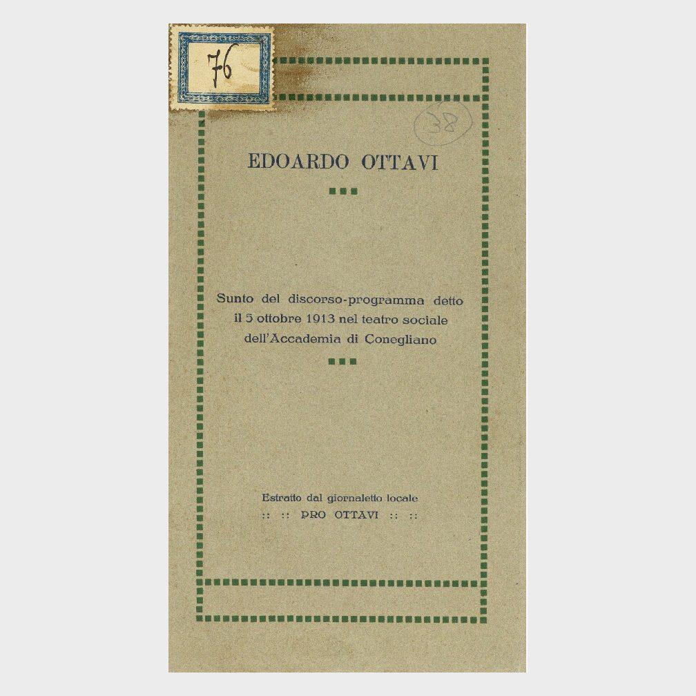 Book Cover: DISCORSO - PROGRAMMA DEL 5 OTTOBRE 1913 AL TEATRO SOCIALE DELL'ACCADEMIA DI CONEGLIANO