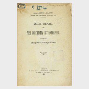 Book Cover: ANALISI COMPLETA DEI VINI DELL'ITALIA SETTENTRIONALE PRESENTI ALL' EXPO PARIGI 1900
