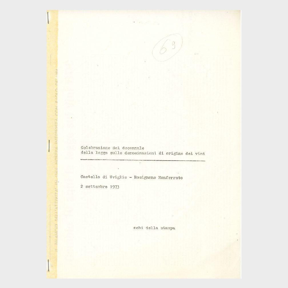 Book Cover: CELEBRAZIONE DECENNALE DELLA LEGGE DELLE DOC VINICOLE