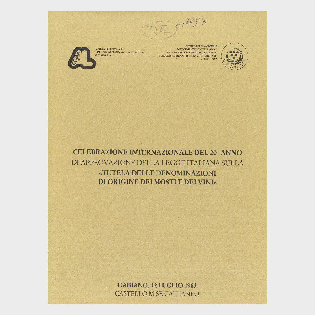 Book Cover: CELEBRAZIONE INTERNAZIONALE DEL 20° ANNO DELLA APPROVAZIONE DELLA LEGGE DELLE DOC
