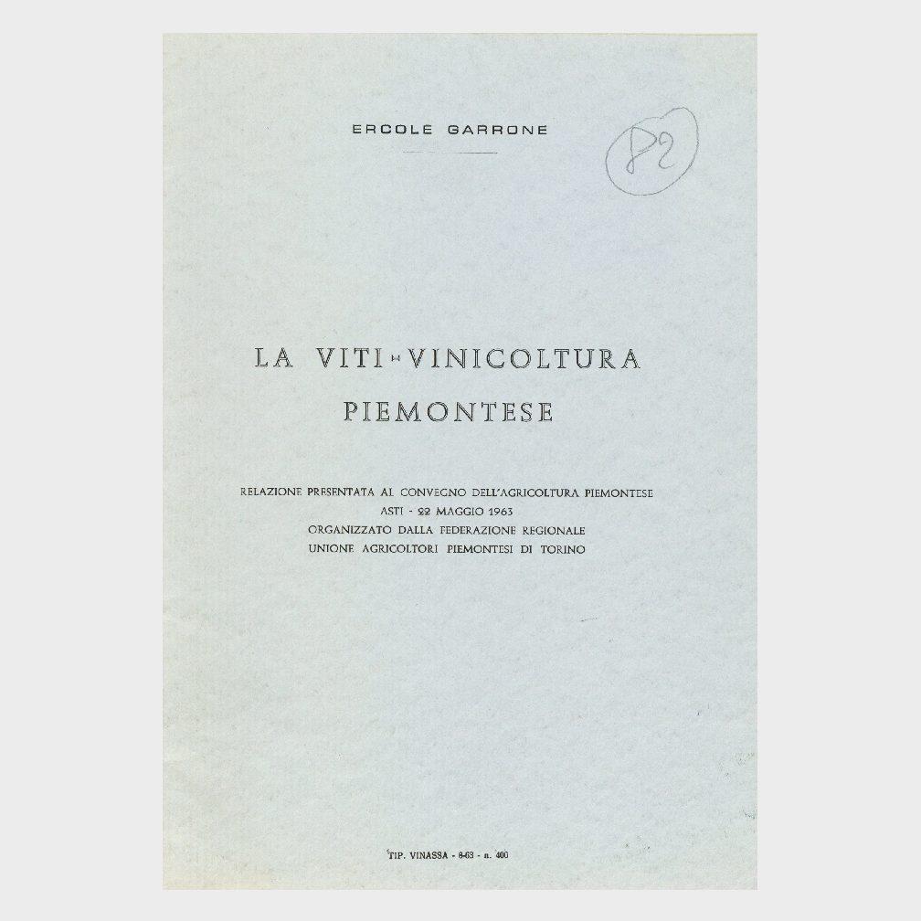 Book Cover: LA VITIVINICOLTURA PIEMONTESE