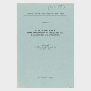 Book Cover: LA LEGGE SULLA TUTELA DELLA DENOMINAZIONI DI ORIGINE DEI VINI E L'INIZIO DELLA SUA APPLICAZIONE
