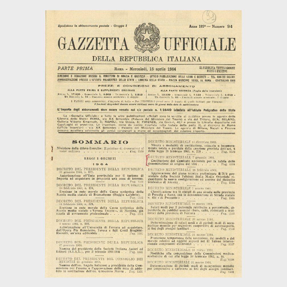 """Book Cover: GAZZETTA UFFICIALE """"NORME PER LA TUTELA DELLE DENOMINAZIONI DI ORIGINE DEI MOSTI E DEI VINI"""""""