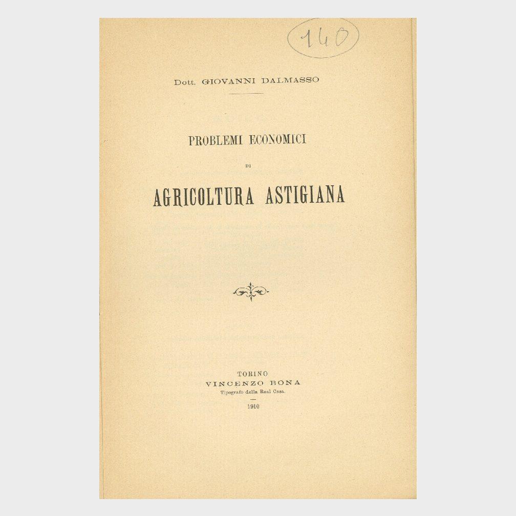 Book Cover: PROBLEMI ECONOMICI DELL'AGRICOLTURA ASTIGIANA