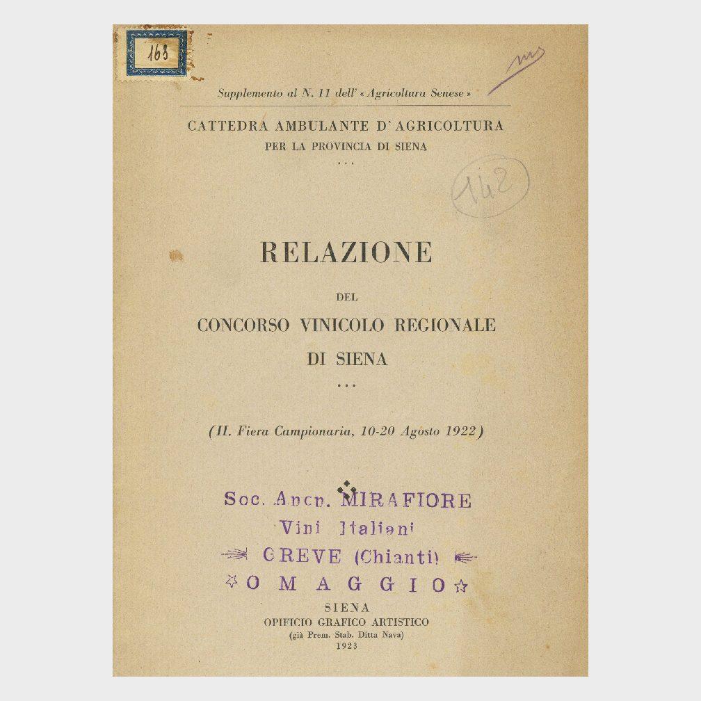 Book Cover: RELAZIONE DEL CONCORSO VINICOLO REGIONALE DI SIENA