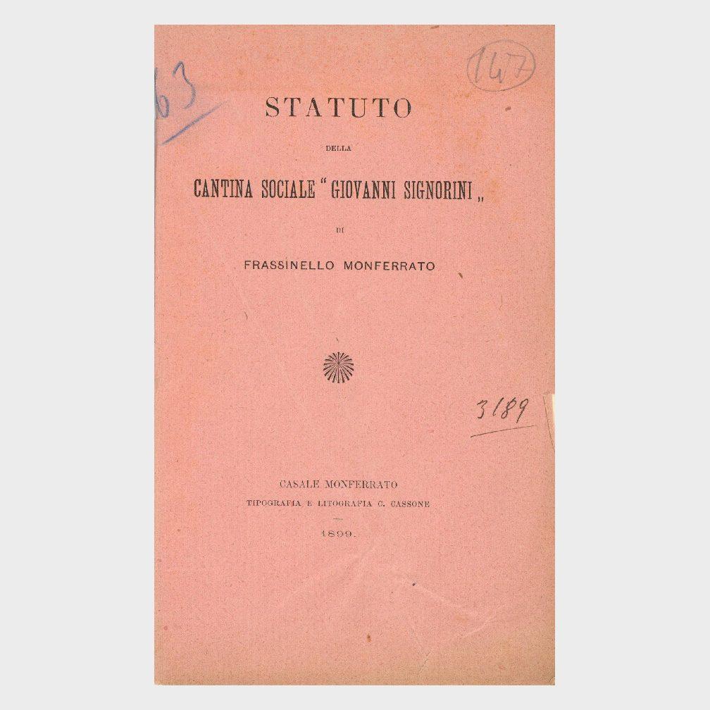 """Book Cover: STATUTO CANTINA SOCIALE """" GIOVANNI SIGNORINI"""" – FRASSINELLO MONFERRATO"""