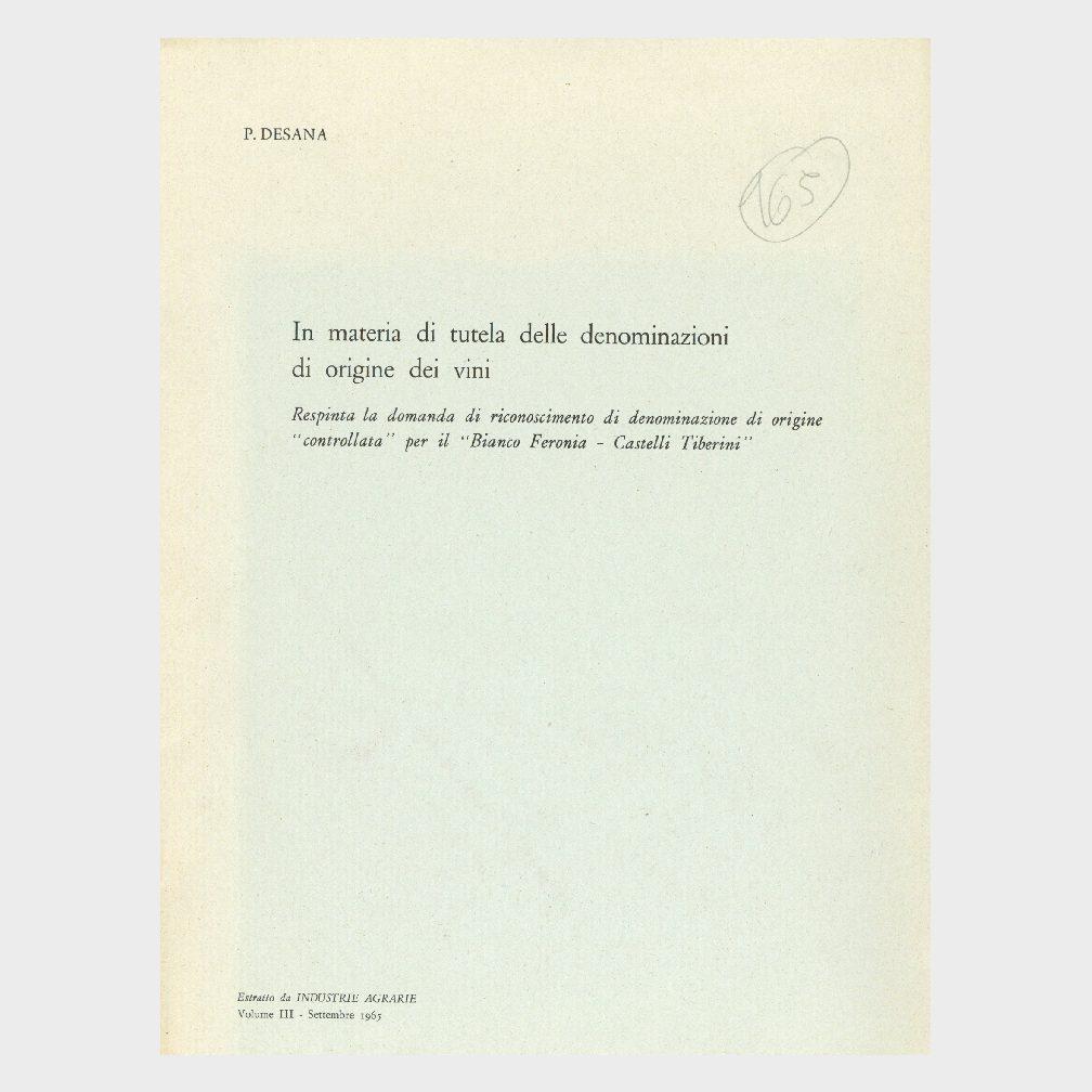 """Book Cover: IN MATERIA DI TUTELA DELLE DENOMINAZIONI DI ORIGINE DEI VINI ( RESPINTA LA DOMANDA """"BIANCO DI FERONIA CASTELLI TIBERINI"""")"""