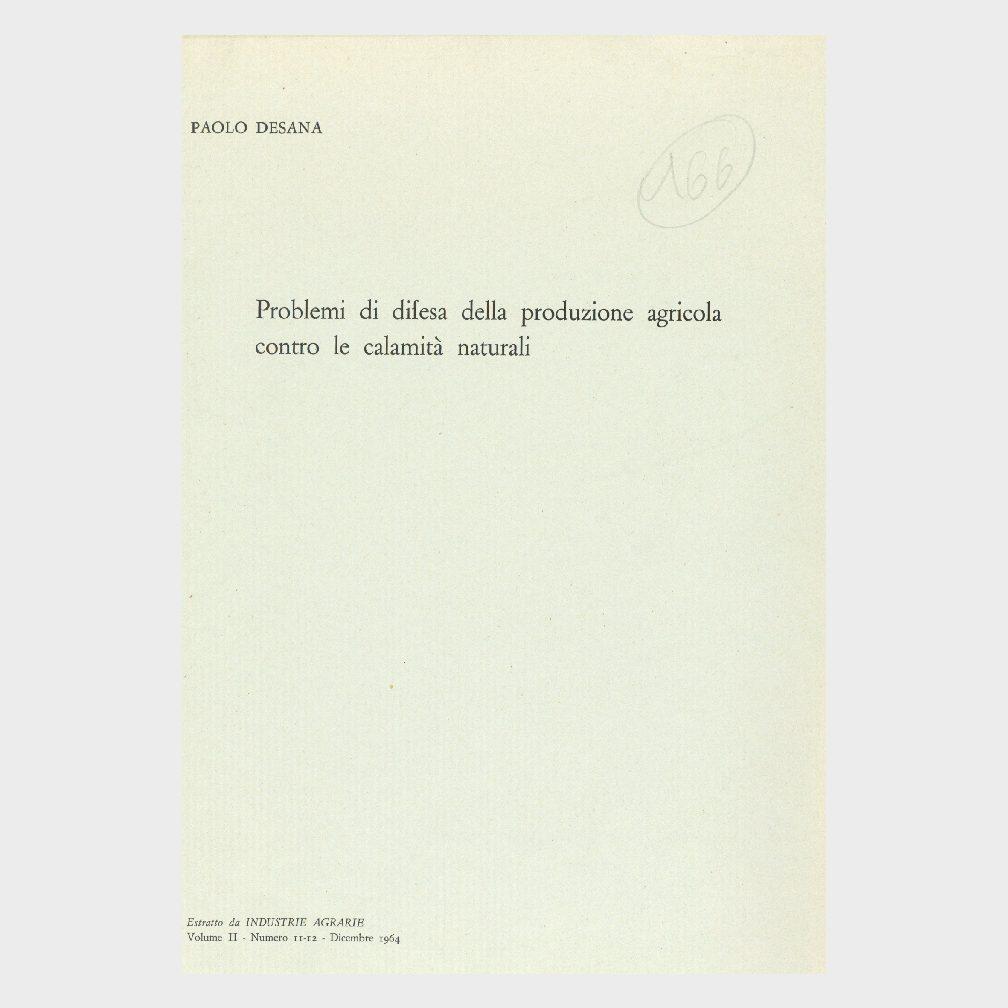 Book Cover: PROBLEMI DI DIFESA DELLA PRODUZIONE AGRICOLA CONTRO LE CALAMITÀ NATURALI