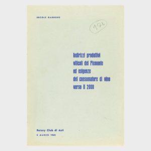 Book Cover: INDIRIZZI PRODUTTIVI VITICOLI DEL PIEMONTE ED ESIGENZE DEI CONSUMATORI DI VINO VERSO IL 2000