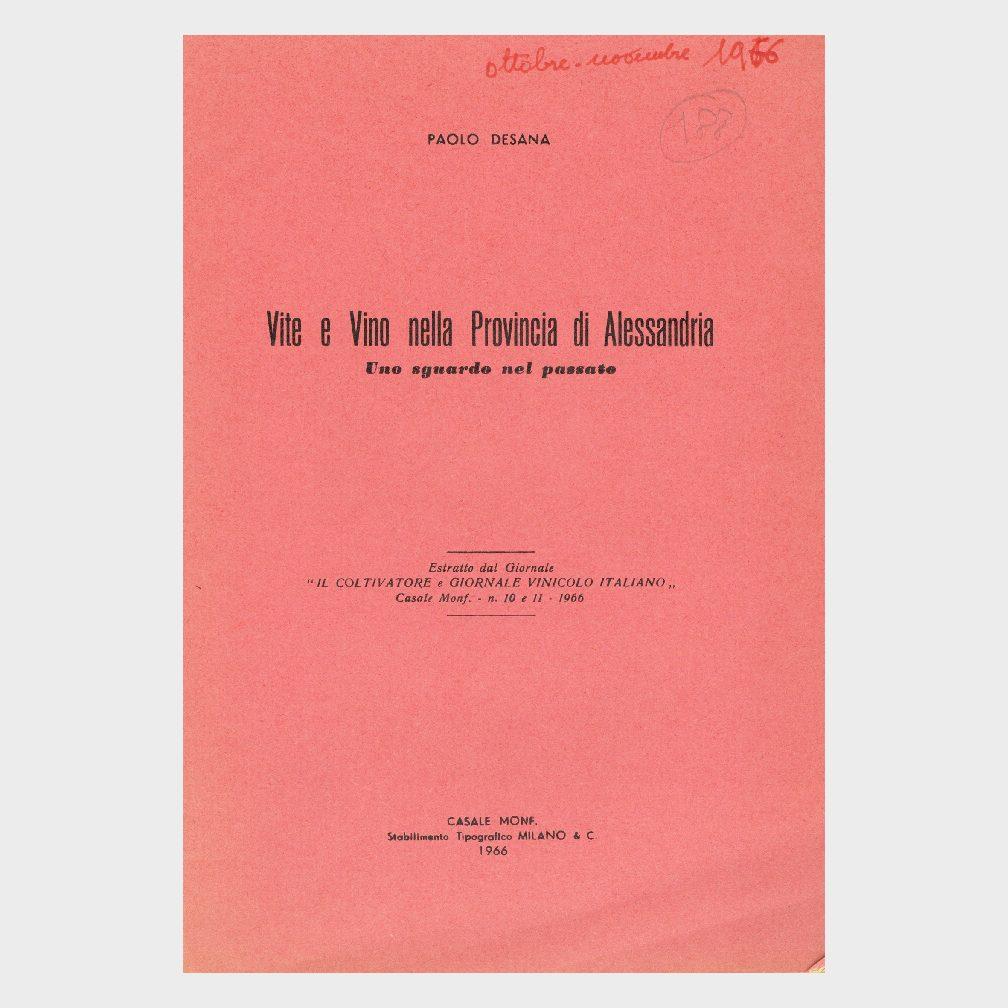 Book Cover: VITE E VINO NELLA PROVINCIA DI ALESSANDRIA