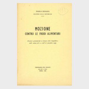 Book Cover: MOZIONE CONTRO LE FRODI ALIMENTARI