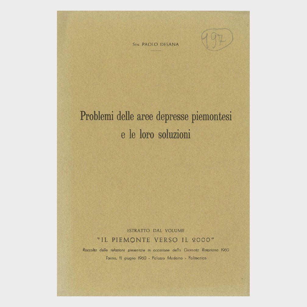 Book Cover: PROBLEMI DELLE AREE DEPRESSE PIEMONTESI E LORO SOLUZIONI