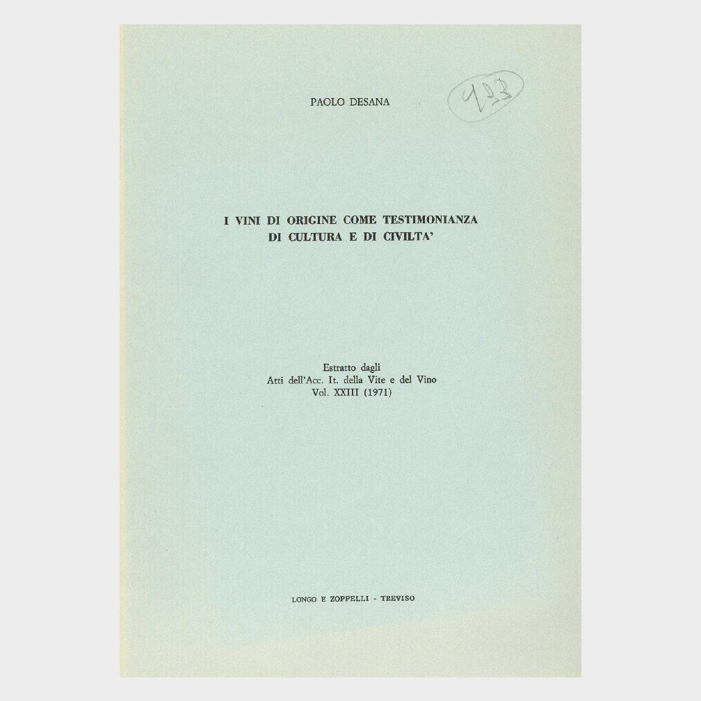 Book Cover: I VINI DI ORIGINE COME TESTIMONIANZA DI CULTURA E CIVILTÀ