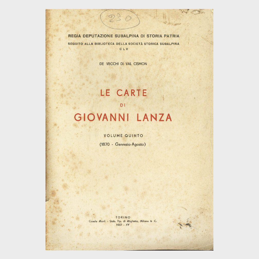 Book Cover: LE CARTE DI GIOVANNI LANZA – VOL 5° GENNAIO – AGOSTO 1970