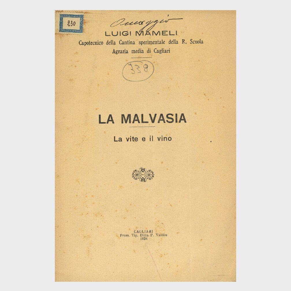 Book Cover: LA MALVASIA – LA VITE E IL VINO